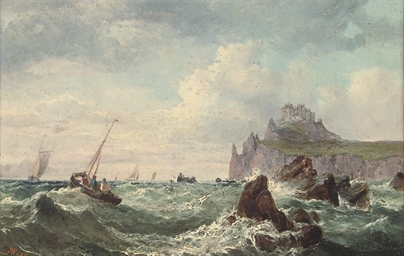 Fishing boats below a fortifie