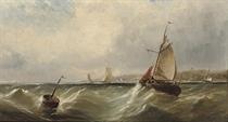 Fishing vessels off the coast in a stiff breeze
