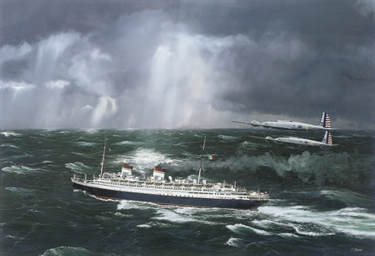 The Italian liner Rex under th