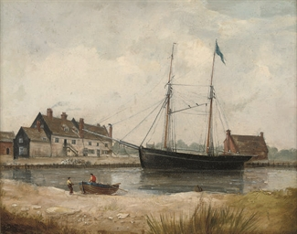 A trading schooner lying along