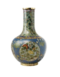 A CHINESE CLOISONNE BOTTLE VAS