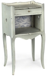 A FRENCH GREY PAINTED BEDSIDE