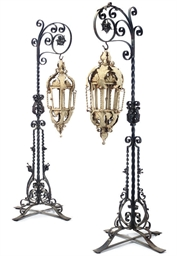 A PAIR OF PAINTED IRON LANTERN