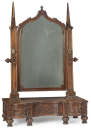 A VICTORIAN OAK TOILET MIRROR