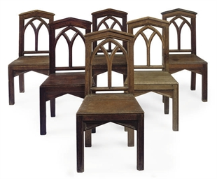A SET OF SIX VICTORIAN OAK CHA