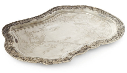 A CHINESE EXPORT SILVER TRAY