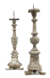 TWO SIMILAR ITALIAN CARVED AND