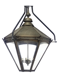A PAIR OF BRASS STREET LANTERN