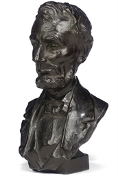 AN AMERICAN BRONZE BUST OF ABR
