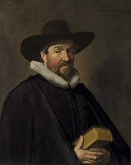 Portrait of Conradus Viëtor (1588-1657), aged 56, half-length, in a black doublet, cloak and hat, with a white ruff, and holding a book