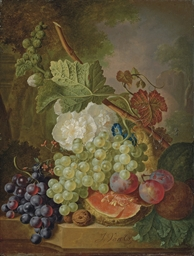 Flowers, grapes, plums, walnut