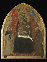 The Madonna and Child with Saints Anthony Abbot and Francis and four Angels