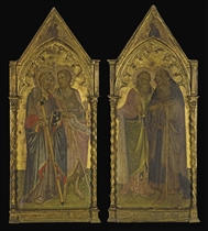Saint James the Great and Saint John the Baptist, with the Angel of the Annunciation in a trefoil above; and Saint Andrew and Saint Anthony Abbott, with the Virgin Annunciate in a trefoil above - the outer wings of an altarpiece