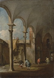 A capriccio of an arcade in a