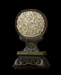 A MOUNTED WHITE JADE OPENWORK