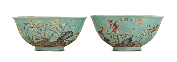 A RARE PAIR OF TURQUOISE-GROUN