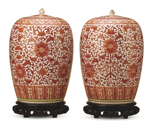 A PAIR OF IRON-RED DECORATED B
