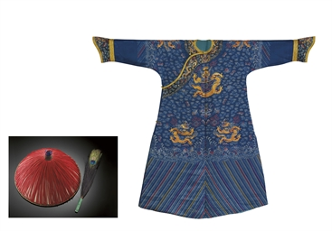 A BLUE GAUZE 'DRAGON' ROBE, A