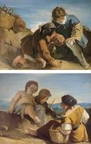 Enfants jouant aux osselets ; et Deux paysannes et un enfant jouant dans un paysage