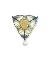 AN ART NOUVEAU OPAL, PEARL AND ENAMEL BROOCH, BY GEORGES FOUQUET