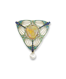 AN ART NOUVEAU OPAL, PEARL AND