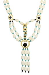 AN IVORY, ONYX AND AMAZONITE B