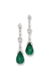 A PAIR OF BELLE EPOQUE EMERALD