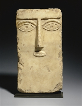A South Arabian Alabaster Anthropomorphic Stele Circa