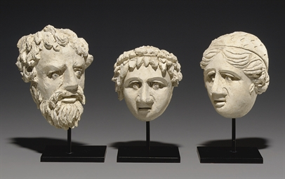 THREE PALMYRENE STUCCO MASKS