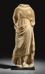 A GREEK MARBLE DRAPED FEMALE