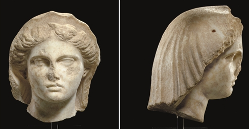 A GREEK MARBLE VEILED FEMALE H