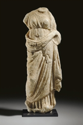A GREEK MARBLE GODDESS