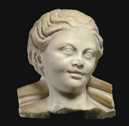 A ROMAN MARBLE HEAD OF A NYMPH