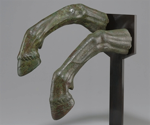 TWO ROMAN BRONZE HORSE FORELEG