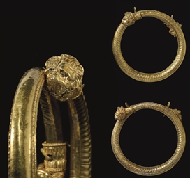 A PAIR OF GREEK GOLD BRACELETS
