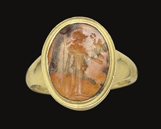 A ROMAN MOTTLED ORANGE JASPER