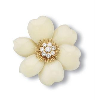 **A WHITE CORAL AND DIAMOND FLOWER BROOCH, BY VAN CLEEF & ARPELS