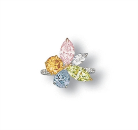 A COLOURED DIAMOND AND DIAMOND
