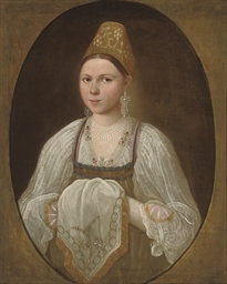 Portrait of a young woman in t