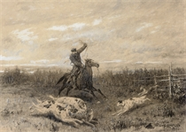 Hunting with borzoi