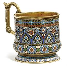 A RUSSIAN SILVER-GILT AND CLOI