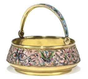 A RUSSIAN SILVER-GILT AND CLOI
