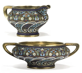 A RUSSIAN SILVER AND CLOISONNÉ
