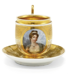 A PORCELAIN CABINET CUP AND A