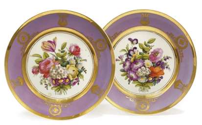 A PAIR OF PINK-GROUND PLATES