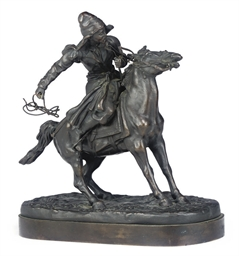 A RUSSIAN EQUESTRIAN BRONZE OF