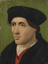 Portrait of a gentleman, bust-length, in a red doublet with a black hat and mantle