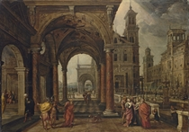 A capriccio, with Daniel demanding justice for Susannah under an arched colonnade, a formal garden beyond