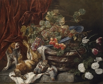 Grapes and apricots in a porcelain bowl on a marble pot with flowers, dead partridges, a hare, and a spaniel barking at a monkey on a stone ledge