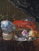 A Dutch Delft blue and white porcelain bowl, a sliced herring with spring onions on a pewter plate with bread, cherries, a knife and a rose, a lobster on a pewter plate in a basket, a lily, a rose, buttercups and other flowers in a pewter vase with a lemon and two façon de Venise wine glasses on a partly-draped table